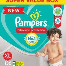 Pampers Diaper Pants, Extra Large size (12-17 kg), 136 Pcs Box